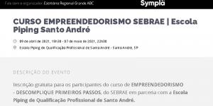 CURSO EMPREENDEDORISMO SEBRAE | Escola Piping Santo André @ E$scola Piping Santo André